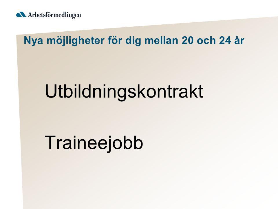 Nya möjligheter för dig mellan 20 och 24 år Utbildningskontrakt Traineejobb
