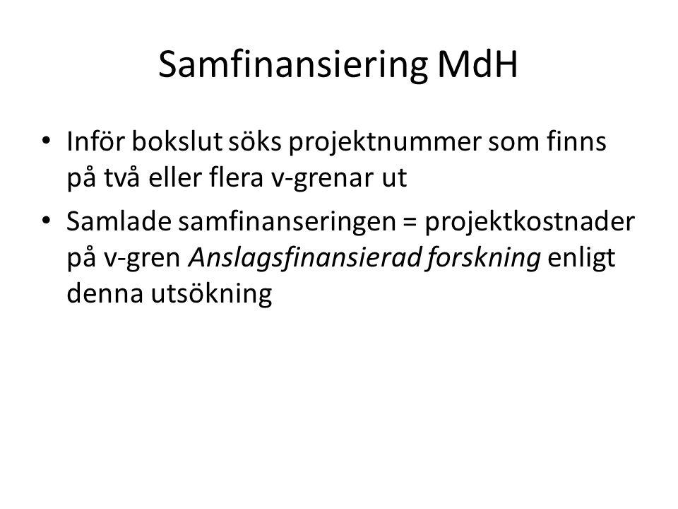 Samfinansiering MdH Inför bokslut söks projektnummer som finns på två eller flera v-grenar ut Samlade samfinanseringen = projektkostnader på v-gren An