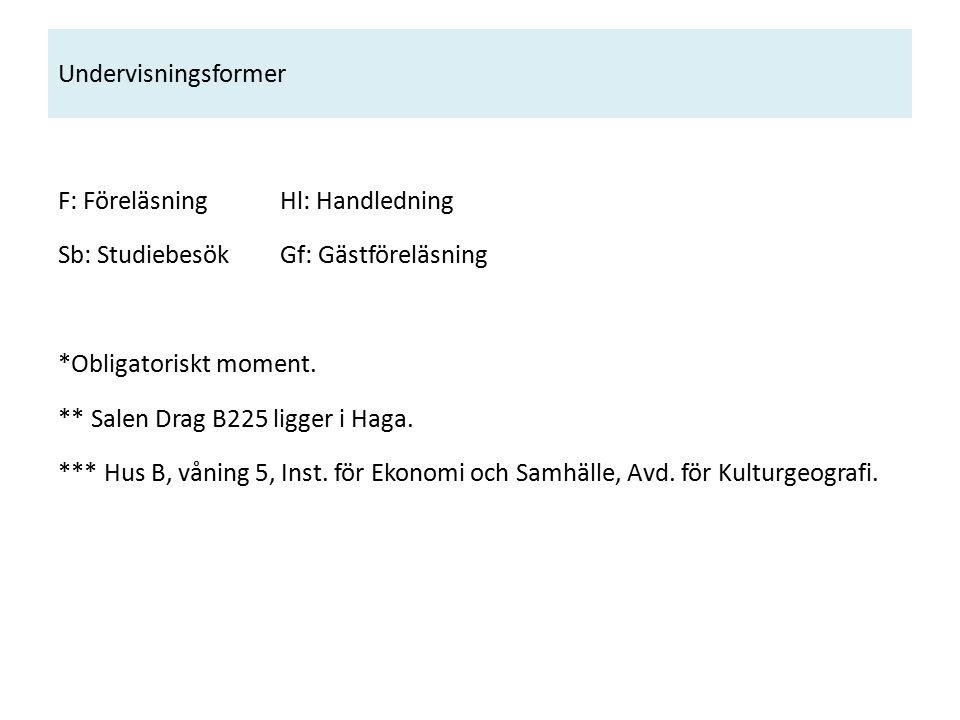 Undervisningsformer F: Föreläsning Hl: Handledning Sb: Studiebesök Gf: Gästföreläsning *Obligatoriskt moment.