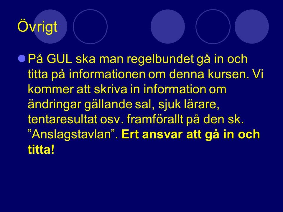 Övrigt På GUL ska man regelbundet gå in och titta på informationen om denna kursen. Vi kommer att skriva in information om ändringar gällande sal, sju