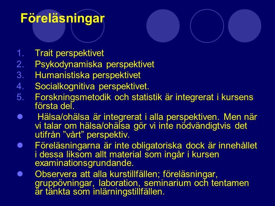 Föreläsningar 1.Trait perspektivet 2.Psykodynamiska perspektivet 3.Humanistiska perspektivet 4.Socialkognitiva perspektivet. 5.Forskningsmetodik och s