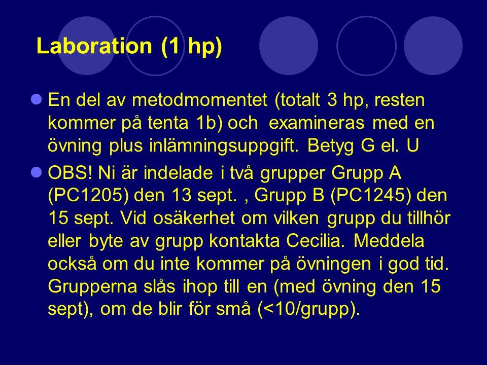 Gruppövningar och seminarium (2 hp) Efter varje föreläsningsblock ligger en obligatorisk gruppövning i form av en gruppdiskussion.
