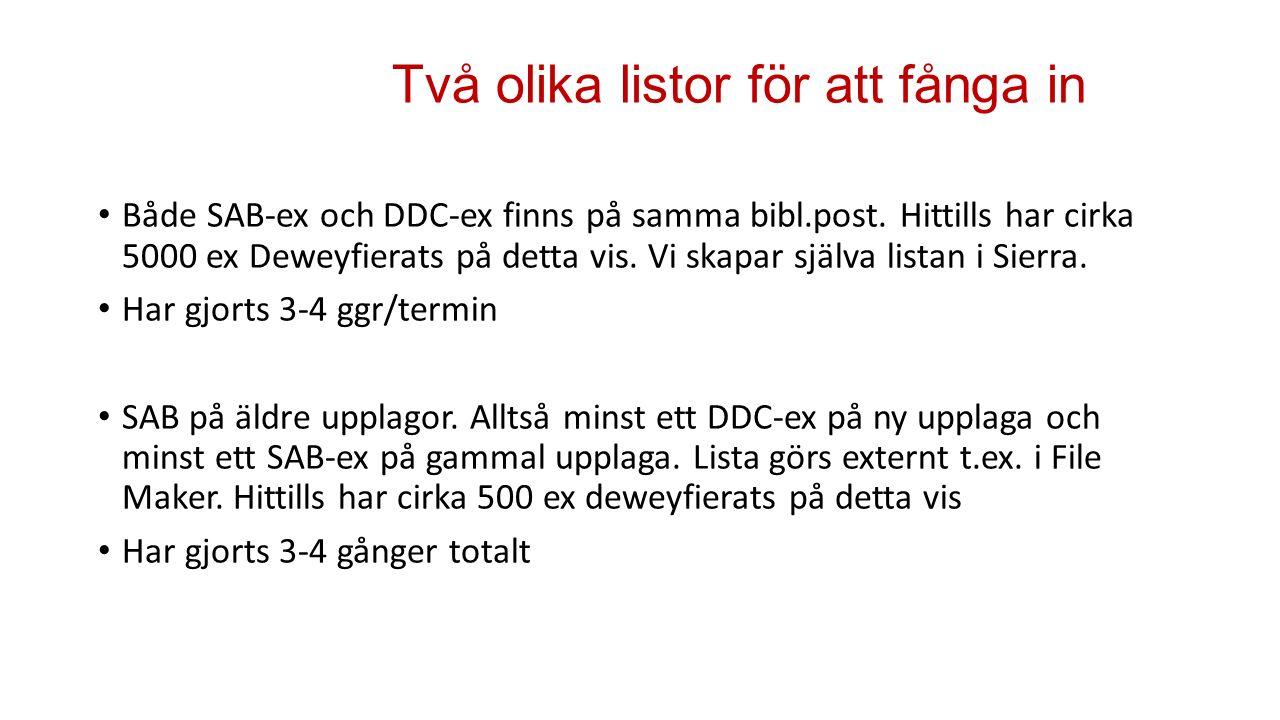 Två olika listor för att fånga in Både SAB-ex och DDC-ex finns på samma bibl.post.