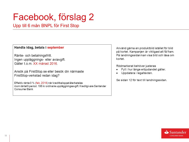Facebook, text till landningssida 12 Upp till 6 mån BNPL ERBJUDANDE.
