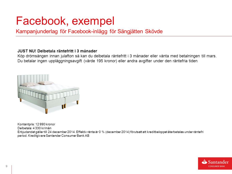 Facebook, exempel 9 Kampanjunderlag för Facebook-inlägg för Sängjätten Skövde JUST NU.