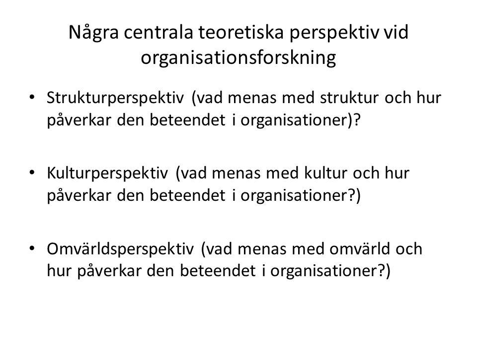 Några centrala teoretiska perspektiv vid organisationsforskning Strukturperspektiv (vad menas med struktur och hur påverkar den beteendet i organisationer).