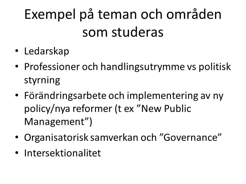 Domänteorin – ett populärt sätt att beskriva människobehandlande organisationer (Kouzes & Mico, 1979)