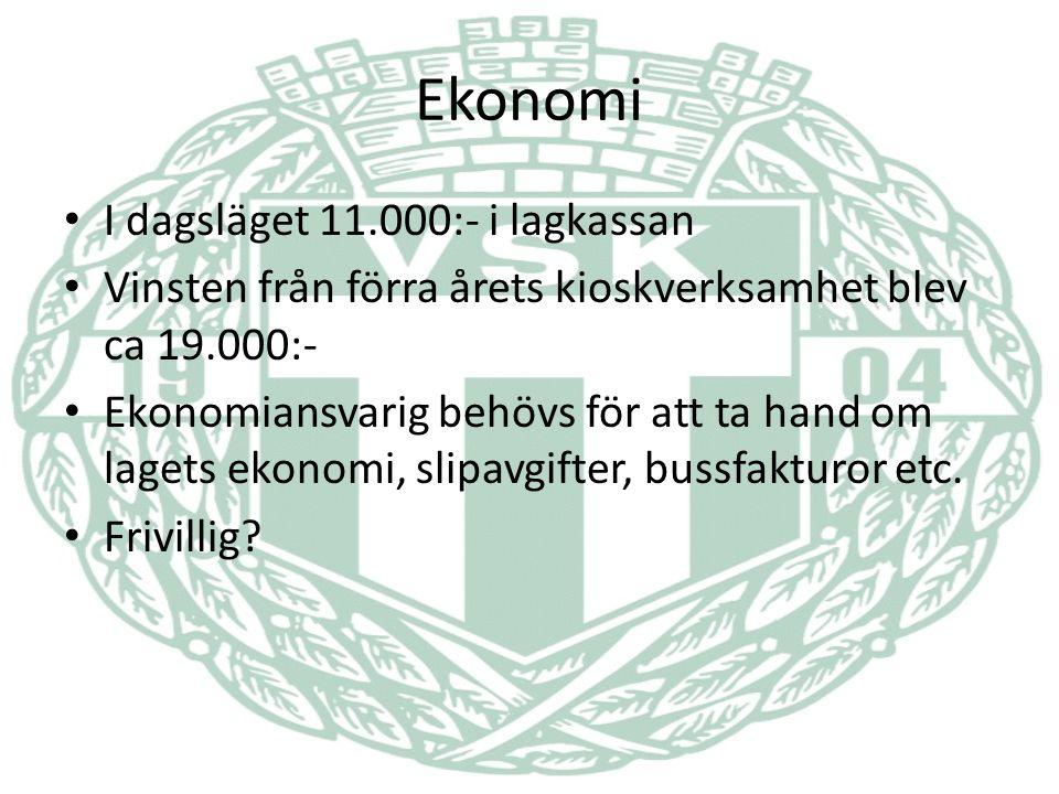 Ekonomi I dagsläget 11.000:- i lagkassan Vinsten från förra årets kioskverksamhet blev ca 19.000:- Ekonomiansvarig behövs för att ta hand om lagets ekonomi, slipavgifter, bussfakturor etc.