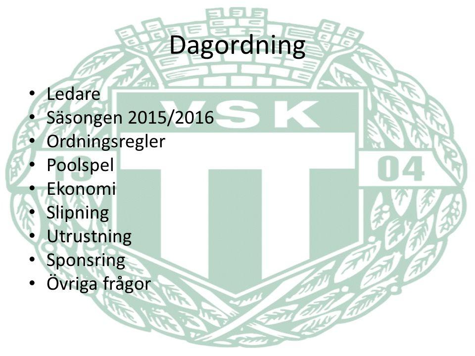 Dagordning Ledare Säsongen 2015/2016 Ordningsregler Poolspel Ekonomi Slipning Utrustning Sponsring Övriga frågor