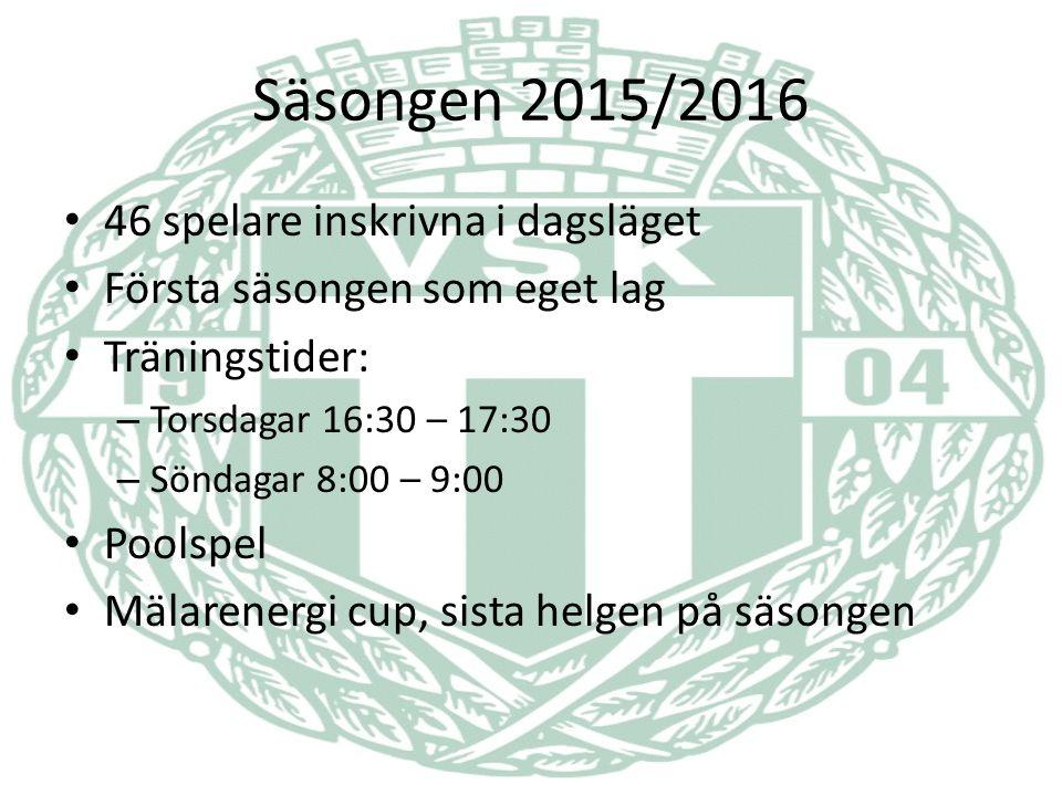 Säsongen 2015/2016 46 spelare inskrivna i dagsläget Första säsongen som eget lag Träningstider: – Torsdagar 16:30 – 17:30 – Söndagar 8:00 – 9:00 Poolspel Mälarenergi cup, sista helgen på säsongen