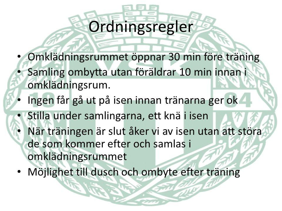 Ordningsregler Omklädningsrummet öppnar 30 min före träning Samling ombytta utan föräldrar 10 min innan i omklädningsrum.
