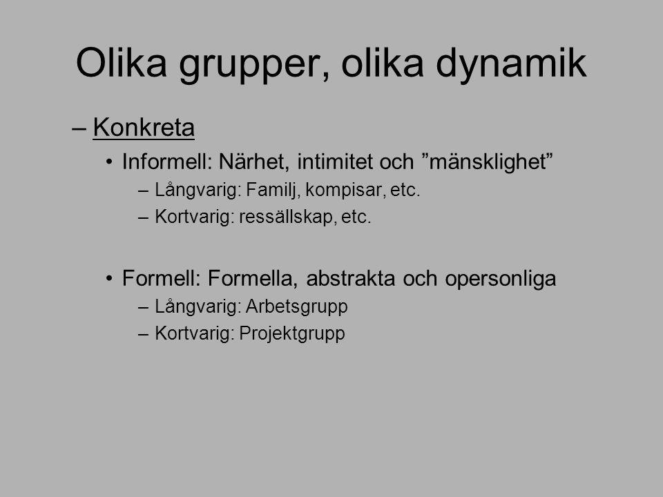 Olika grupper, olika dynamik –Konkreta Informell: Närhet, intimitet och mänsklighet –Långvarig: Familj, kompisar, etc.