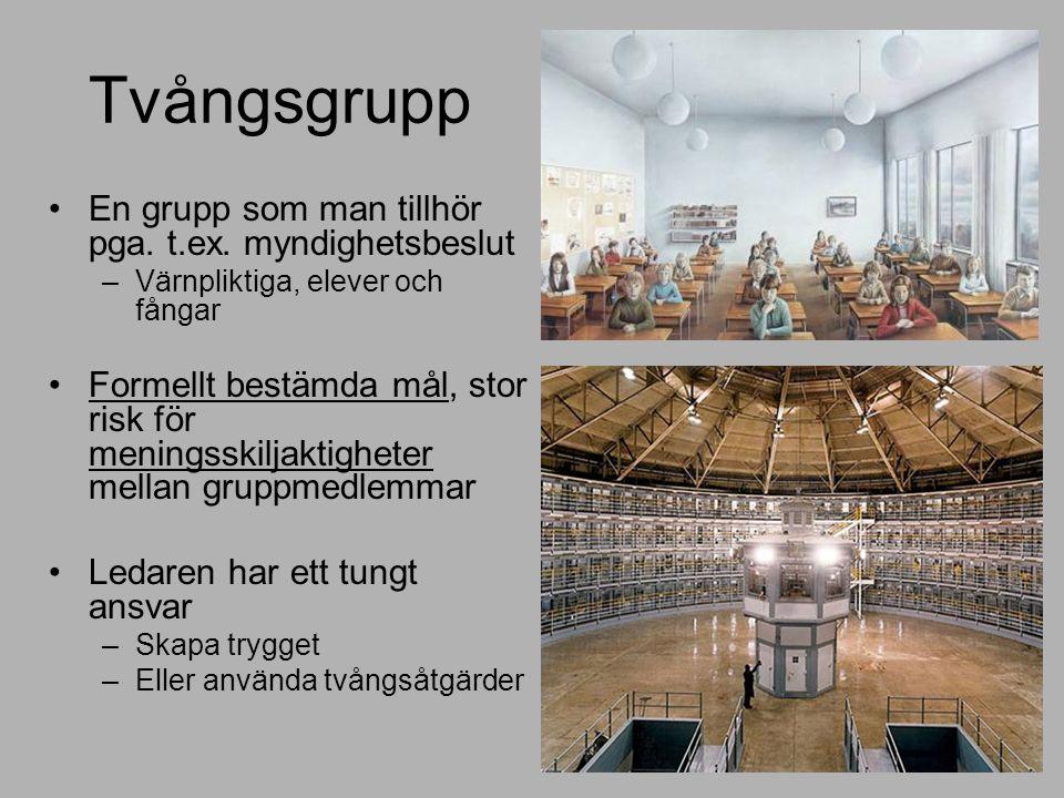 Tvångsgrupp En grupp som man tillhör pga. t.ex.