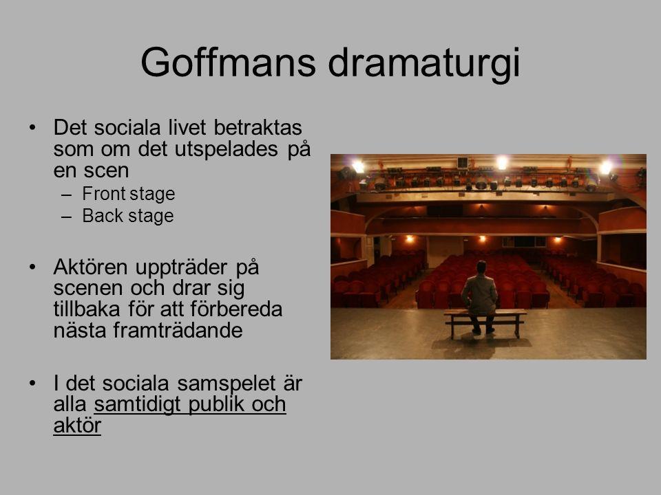 Goffmans dramaturgi Det sociala livet betraktas som om det utspelades på en scen –Front stage –Back stage Aktören uppträder på scenen och drar sig tillbaka för att förbereda nästa framträdande I det sociala samspelet är alla samtidigt publik och aktör