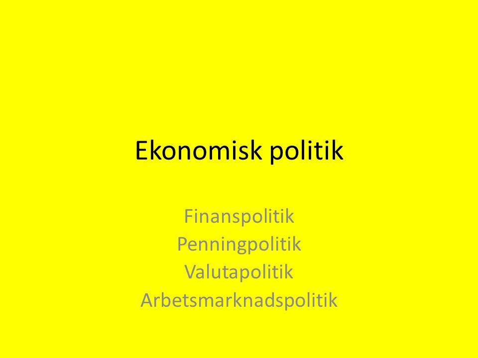 Ekonomisk politik Finanspolitik Penningpolitik Valutapolitik Arbetsmarknadspolitik