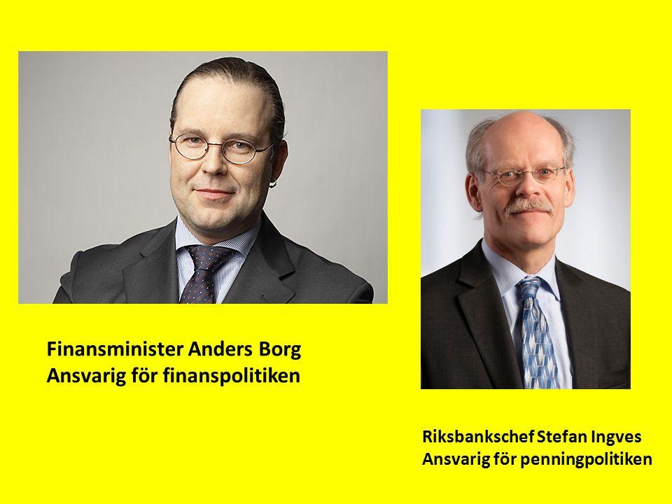 Finansminister Anders Borg Ansvarig för finanspolitiken Riksbankschef Stefan Ingves Ansvarig för penningpolitiken