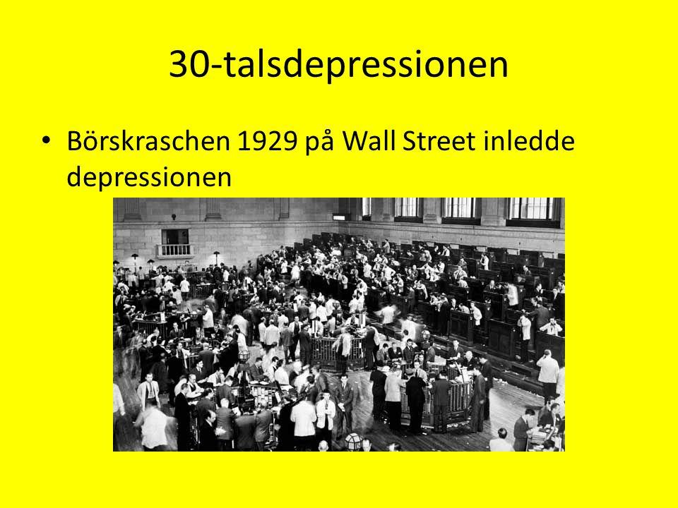 30-talsdepressionen Börskraschen 1929 på Wall Street inledde depressionen