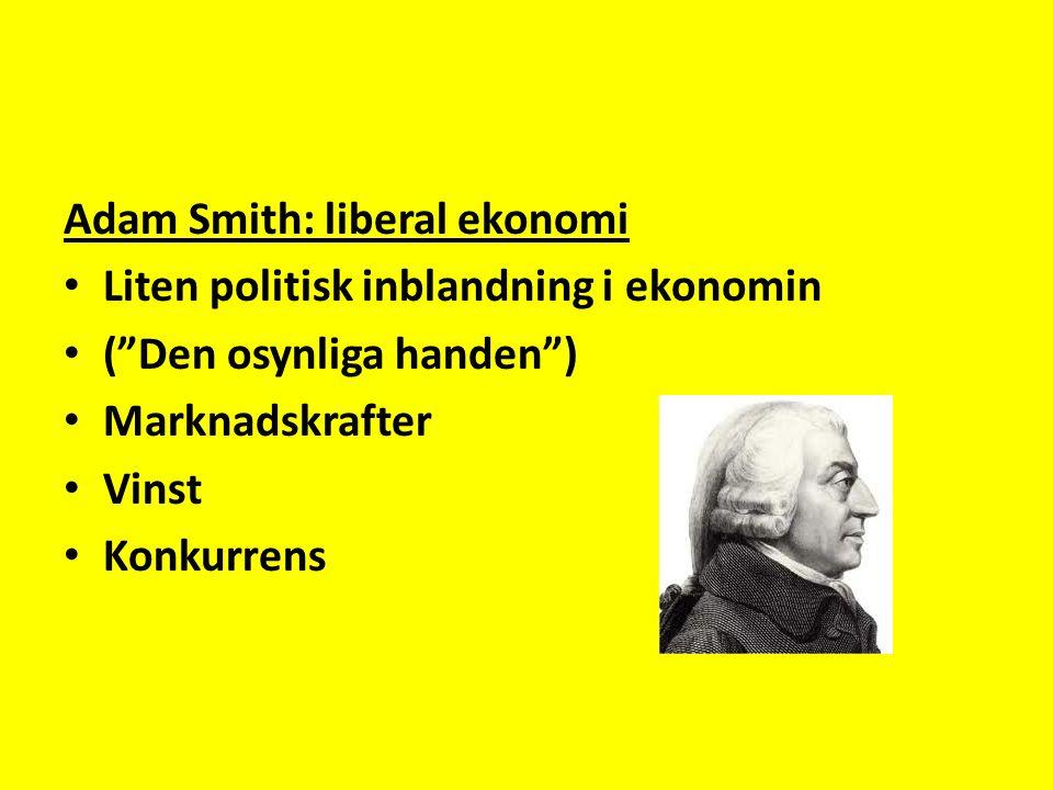 Adam Smith: liberal ekonomi Liten politisk inblandning i ekonomin ( Den osynliga handen ) Marknadskrafter Vinst Konkurrens