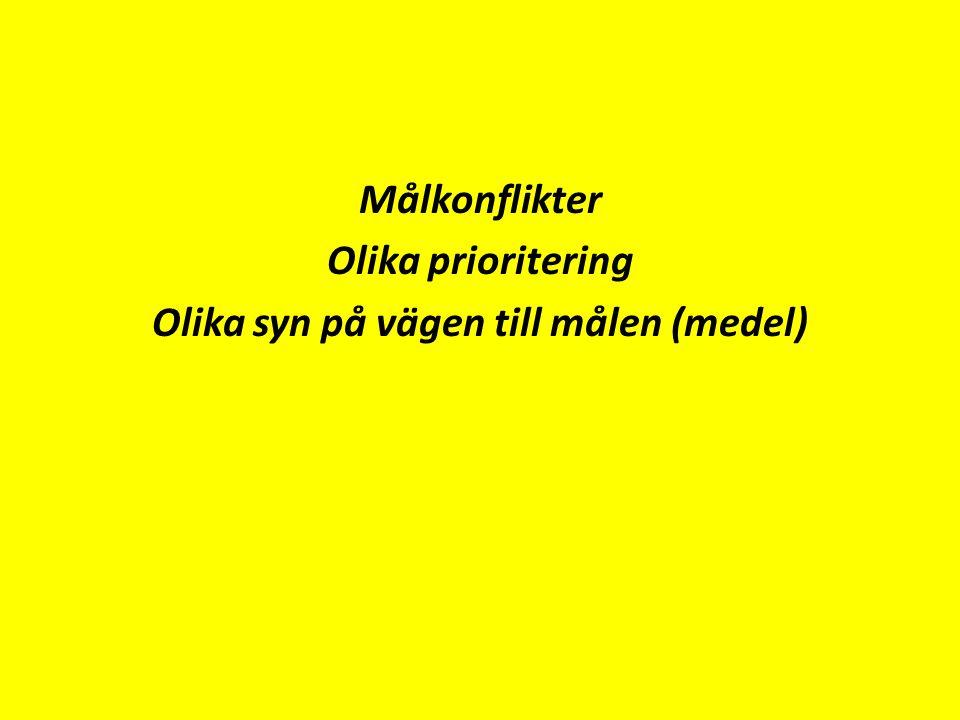 Målkonflikter Olika prioritering Olika syn på vägen till målen (medel)