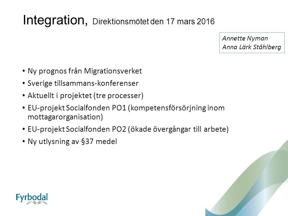 Integration, Direktionsmötet den 17 mars 2016 Ny prognos från Migrationsverket Sverige tillsammans-konferenser Aktuellt i projektet (tre processer) EU-projekt Socialfonden PO1 (kompetensförsörjning inom mottagarorganisation) EU-projekt Socialfonden PO2 (ökade övergångar till arbete) Ny utlysning av §37 medel Annette Nyman Anna Lärk Ståhlberg