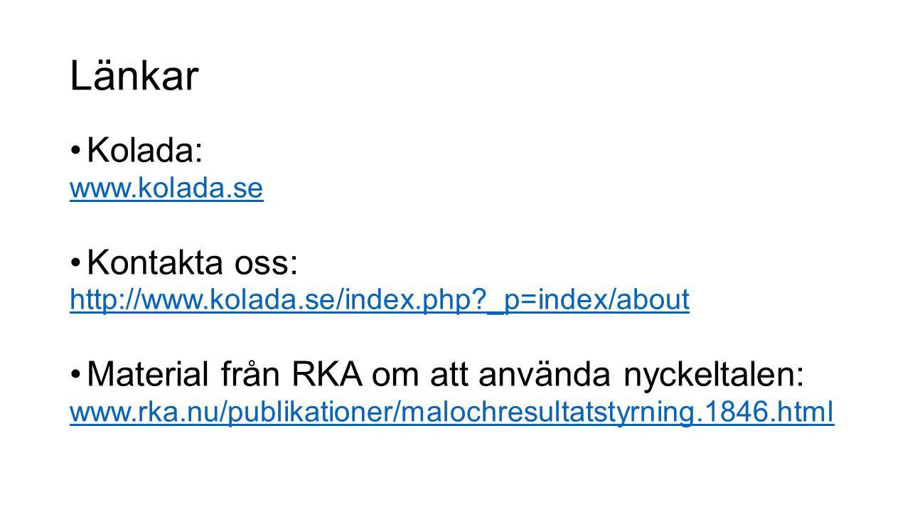 Länkar Kolada: www.kolada.se Kontakta oss: http://www.kolada.se/index.php?_p=index/about Material från RKA om att använda nyckeltalen: www.rka.nu/publ