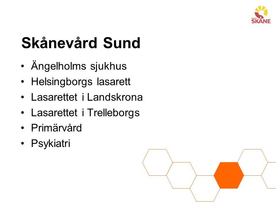 Skånevård Sund Ängelholms sjukhus Helsingborgs lasarett Lasarettet i Landskrona Lasarettet i Trelleborgs Primärvård Psykiatri