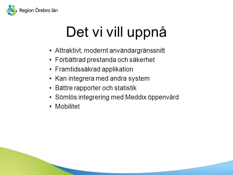 Det vi vill uppnå Attraktivt, modernt användargränssnitt Förbättrad prestanda och säkerhet Framtidssäkrad applikation Kan integrera med andra system Bättre rapporter och statistik Sömlös integrering med Meddix öppenvård Mobilitet