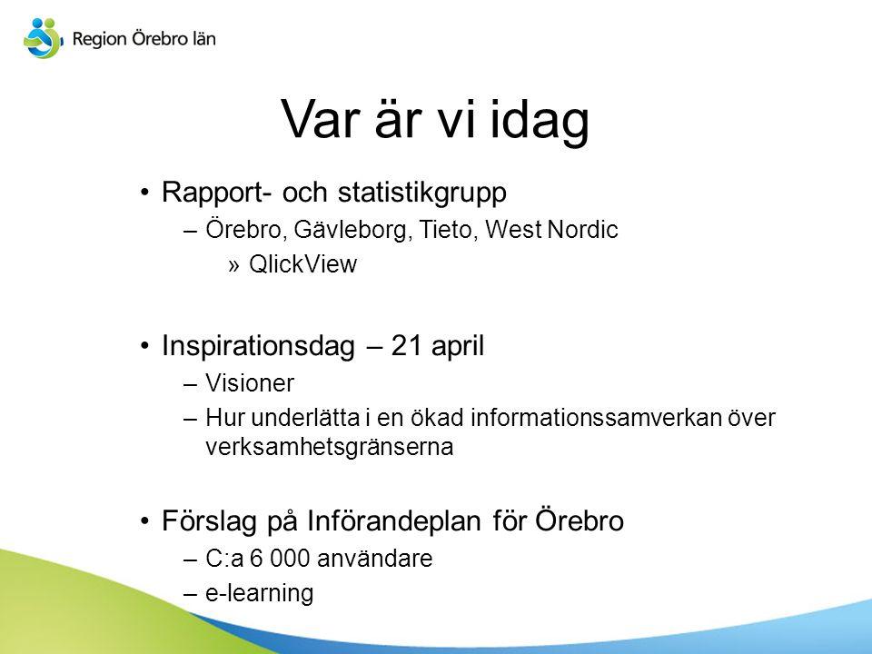 Var är vi idag Rapport- och statistikgrupp –Örebro, Gävleborg, Tieto, West Nordic »QlickView Inspirationsdag – 21 april –Visioner –Hur underlätta i en ökad informationssamverkan över verksamhetsgränserna Förslag på Införandeplan för Örebro –C:a 6 000 användare –e-learning