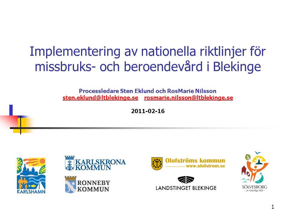 1 Implementering av nationella riktlinjer för missbruks- och beroendevård i Blekinge Processledare Sten Eklund och RosMarie Nilsson sten.eklund@ltblek