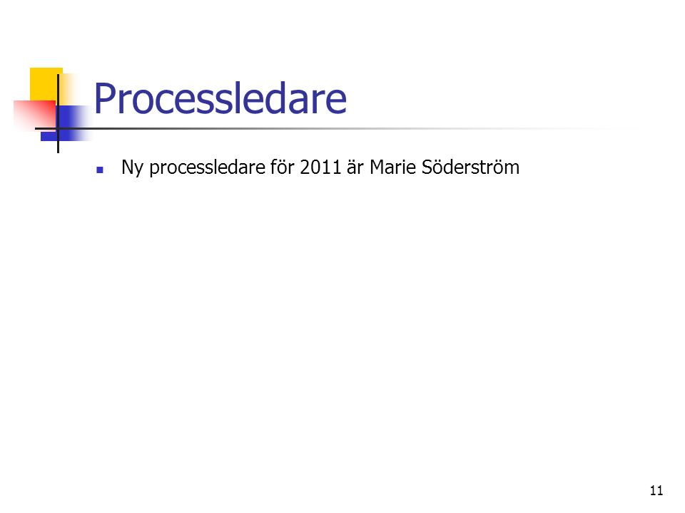 11 Processledare Ny processledare för 2011 är Marie Söderström