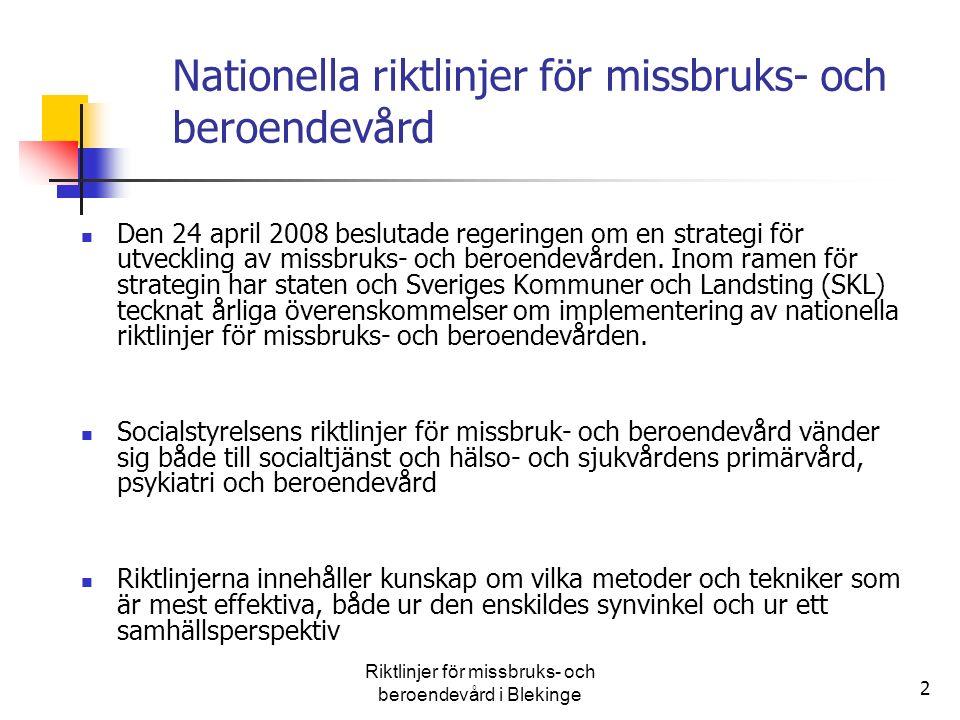 2 Nationella riktlinjer för missbruks- och beroendevård Den 24 april 2008 beslutade regeringen om en strategi för utveckling av missbruks- och beroend