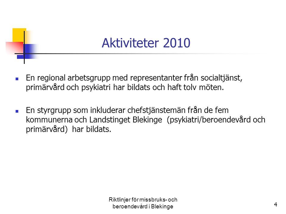 4 Aktiviteter 2010 En regional arbetsgrupp med representanter från socialtjänst, primärvård och psykiatri har bildats och haft tolv möten. En styrgrup