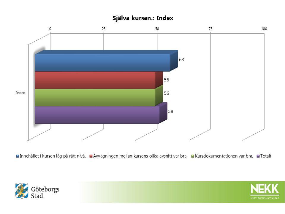 Utförd av: Per Svensson (per.svensson@stadshuset.goteborg.se) Organisationsnamn: Göteborgs Stad Intraservice Nekk Utförandedatum: 20-02-2015 14:09:09 Antal svar: 5 Antal inbjudna respondenter (via e-post): 12 Procentandel svar: 41,7%