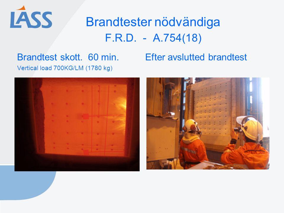 Brandtester nödvändiga F.R.D. - A.754(18) Brandtest skott. 60 min. Efter avslutted brandtest Vertical load 700KG/LM (1780 kg)