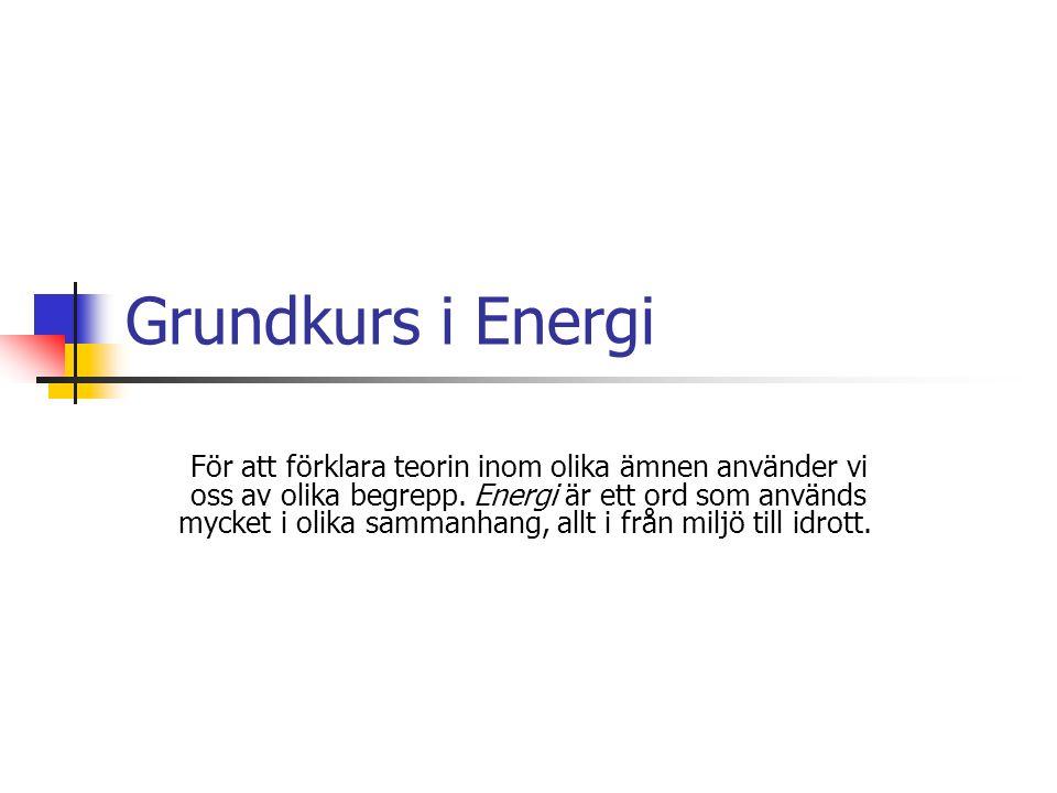 Grundkurs i Energi För att förklara teorin inom olika ämnen använder vi oss av olika begrepp.