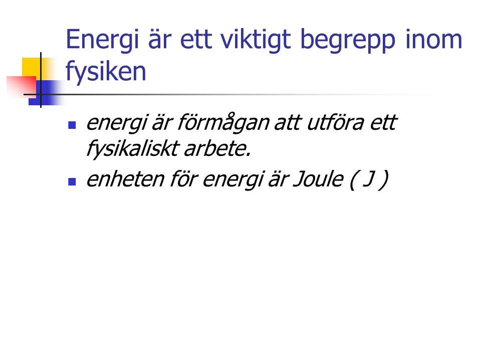 Energi är ett viktigt begrepp inom fysiken energi är förmågan att utföra ett fysikaliskt arbete.