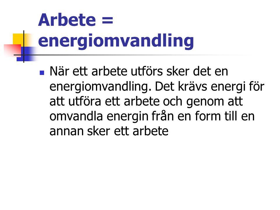 Arbete = energiomvandling När ett arbete utförs sker det en energiomvandling.