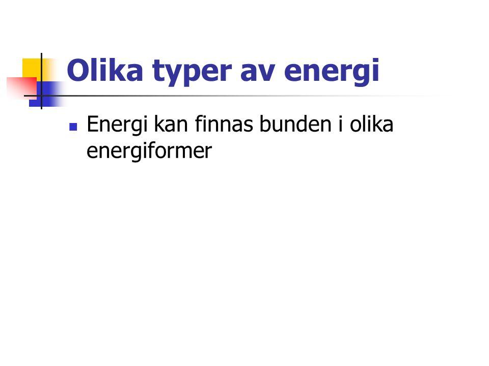 Olika typer av energi Energi kan finnas bunden i olika energiformer