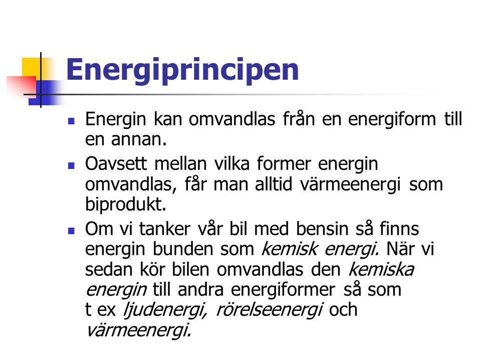 Energiprincipen Energin kan omvandlas från en energiform till en annan.