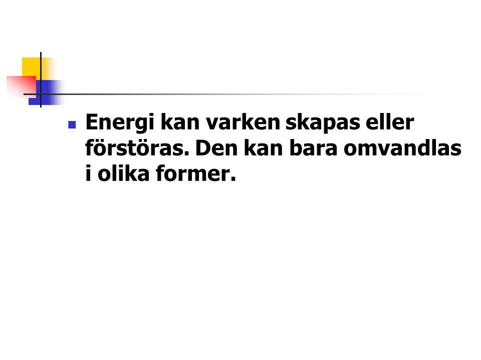 Energi kan varken skapas eller förstöras. Den kan bara omvandlas i olika former.
