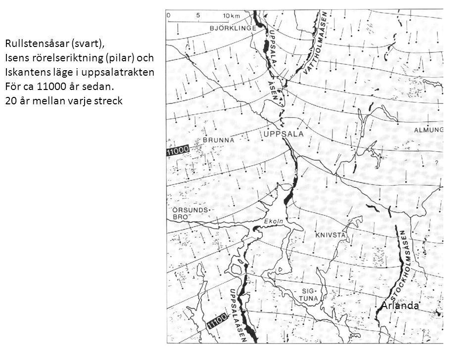 Rullstensåsar (svart), Isens rörelseriktning (pilar) och Iskantens läge i uppsalatrakten För ca 11000 år sedan.