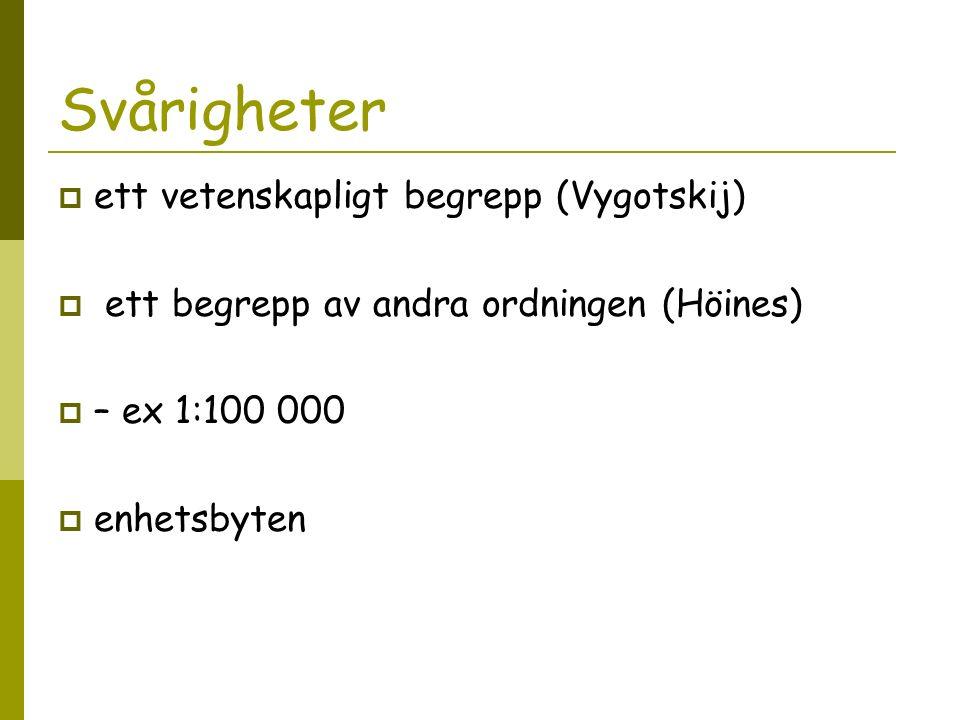 Svårigheter  ett vetenskapligt begrepp (Vygotskij)  ett begrepp av andra ordningen (Höines)  – ex 1:100 000  enhetsbyten