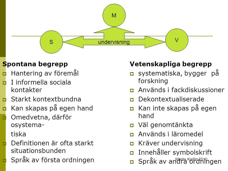 Spontana begrepp  Hantering av föremål  I informella sociala kontakter  Starkt kontextbundna  Kan skapas på egen hand  Omedvetna, därför osystema