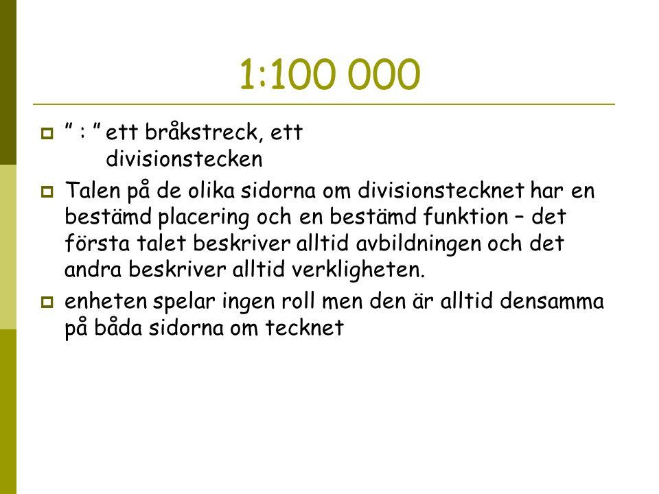 """1:100 000  """" : """"ett bråkstreck, ett divisionstecken  Talen på de olika sidorna om divisionstecknet har en bestämd placering och en bestämd funktion"""