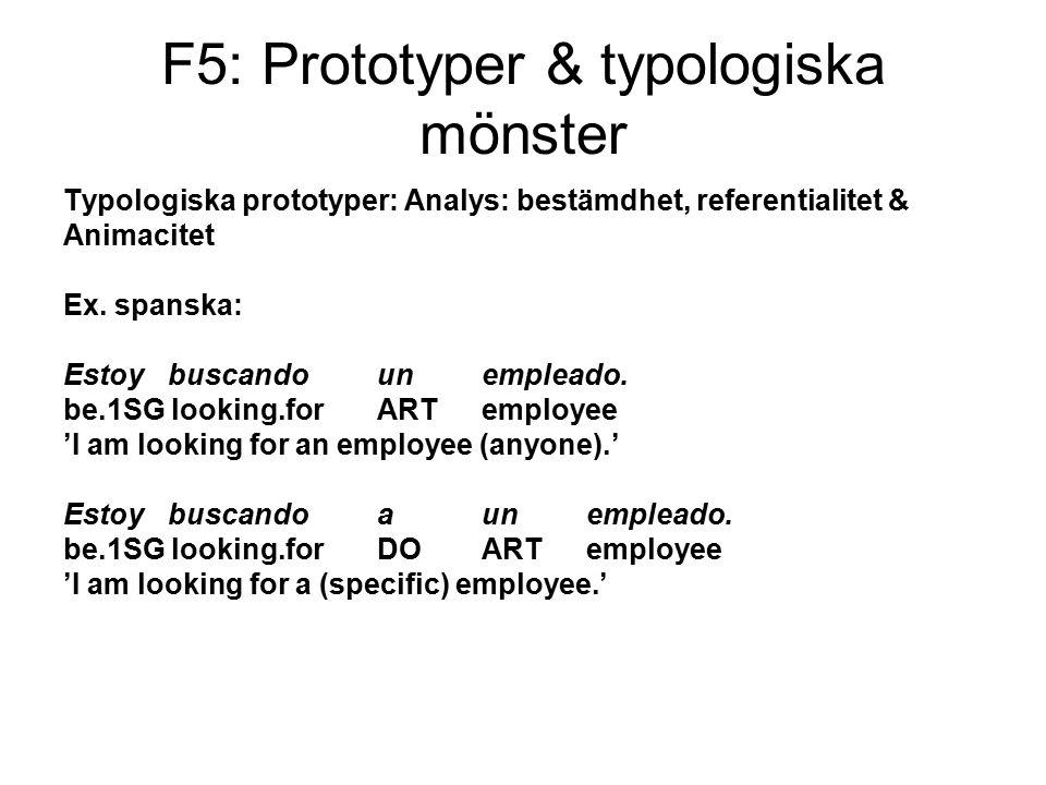 F5: Prototyper & typologiska mönster Typologiska prototyper: Analys: bestämdhet, referentialitet & Animacitet Ex.