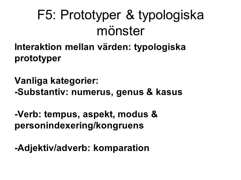 Interaktion mellan värden: typologiska prototyper Vanliga kategorier: -Substantiv: numerus, genus & kasus -Verb: tempus, aspekt, modus & personindexering/kongruens -Adjektiv/adverb: komparation