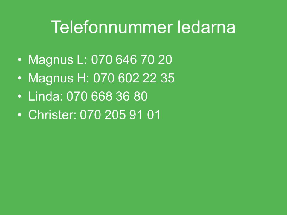 Telefonnummer ledarna Magnus L: 070 646 70 20 Magnus H: 070 602 22 35 Linda: 070 668 36 80 Christer: 070 205 91 01