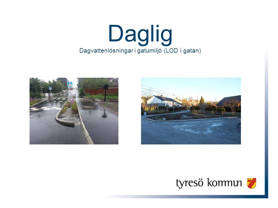 Syfte Dagvatten –Ta om hand kväve, fosfor och tungmetaller –Förebygga översvämningar Trafiksäkerhet –Lägre hastigheter Estetiskt mer tilltalande Samordning, synergier och lärande organisation