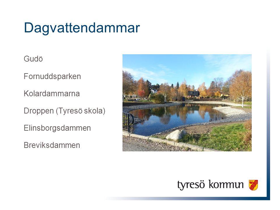 Dagvattendammar Gudö Fornuddsparken Kolardammarna Droppen (Tyresö skola) Elinsborgsdammen Breviksdammen