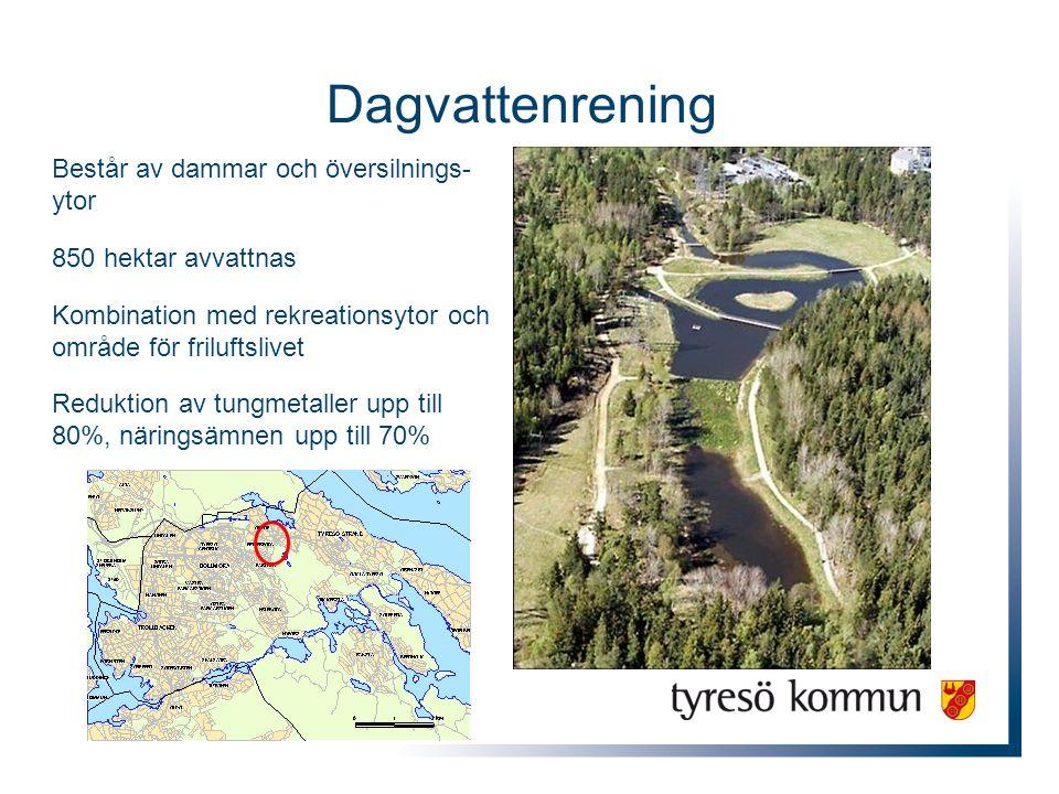 Dagvattenrening Består av dammar och översilnings- ytor 850 hektar avvattnas Kombination med rekreationsytor och område för friluftslivet Reduktion av tungmetaller upp till 80%, näringsämnen upp till 70%